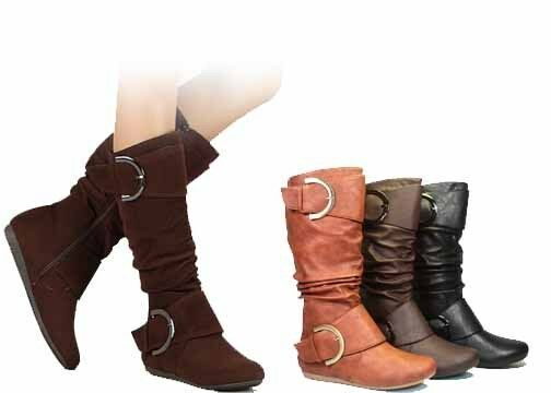 WOMENS TAN FAUX SUEDE KNITTED SLOUCH MID CALF WINTER ZIP BOOTS LADIES SIZE