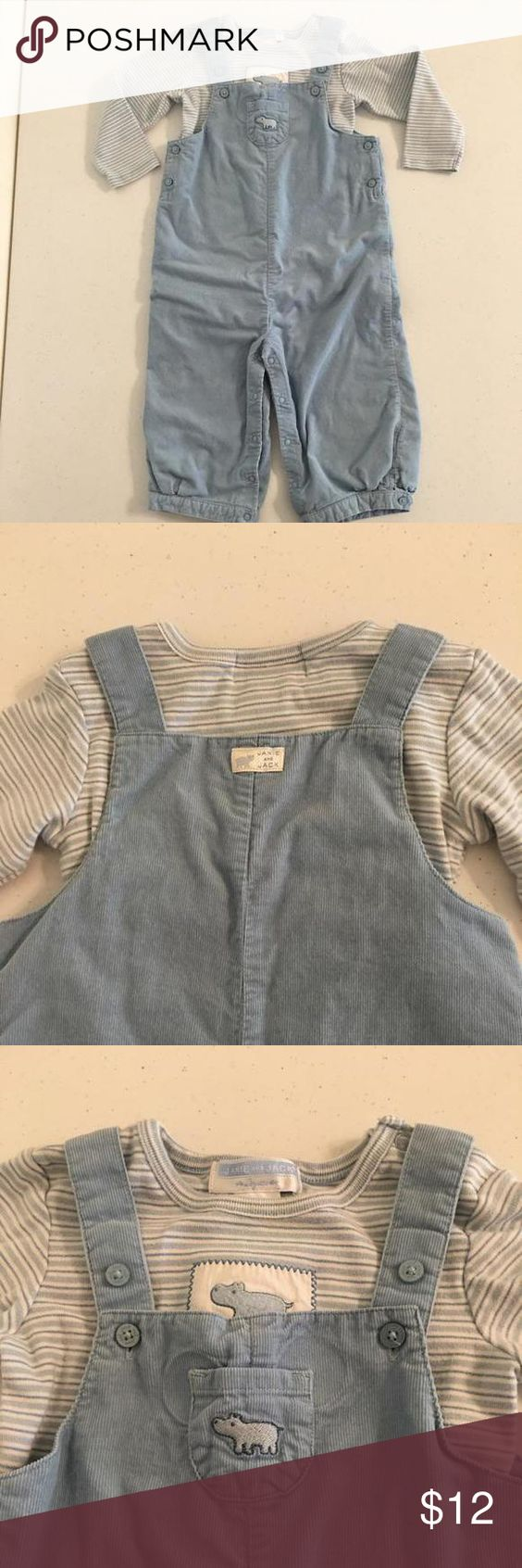 Janie and Jack Overalls and Matching Onesie Baby blue corduroy overalls with snap leg closure and button straps. Matching striped onesie. Cute little Hippo to the shirt and front pocket. Tiny mark to the back leg but is not obvious. Very precious set! Janie and Jack Shirts & Tops