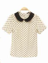 Pokal Dot Vintage Chiffon Shirt Beige $33.00