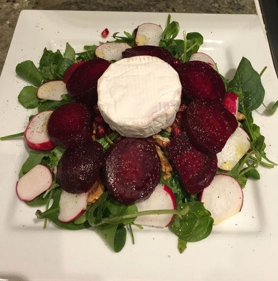 Beet root and goat cheese salad