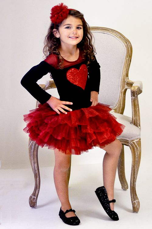 Ooh La La Couture Heart Dress for Girls in Red and Black - Toddler ...