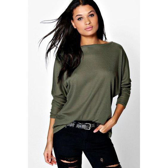 Boohoo Eva Premium Fabric Oversized Top ($24) ❤ liked on Polyvore featuring tops, t-shirts, khaki, high neck crop top, long sleeve t shirt, crop tee, long sleeve tee and oversized t shirt