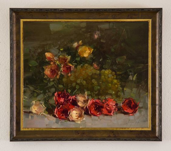 """Roses Original oil Painting on Canvas, Hand painted artwork One of a Kind. Artist: Vahe Yeremyan Work: Original oil Painting, One of a Kind Medium: Oil on Canvas Year: 2015 Style: Classic art, Subject: Roses, Size: 18"""" x 22"""" x 3/4'' inch Framed 22''x 26''x 2'' inch, Custom wood frame, Ready to Hang, Gallery Estimated Value $4,500, Yeremyan is an Armenian native who now makes his home in California. He is an honorable member of the Artist's Guild of Armenia and an active member of the Oil..."""