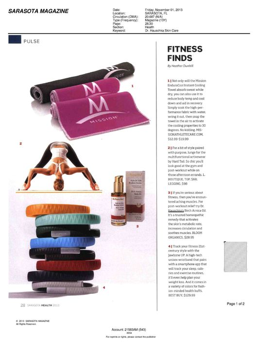 Birch Arnica Body Oil is featured in the November 2013 issue of Sarasota Magazine in a fitness round-up.