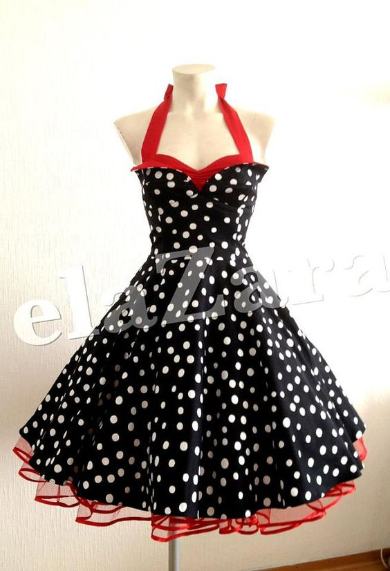 Rockabilly Dress With Polka Dots Beautiful 50s Dresses
