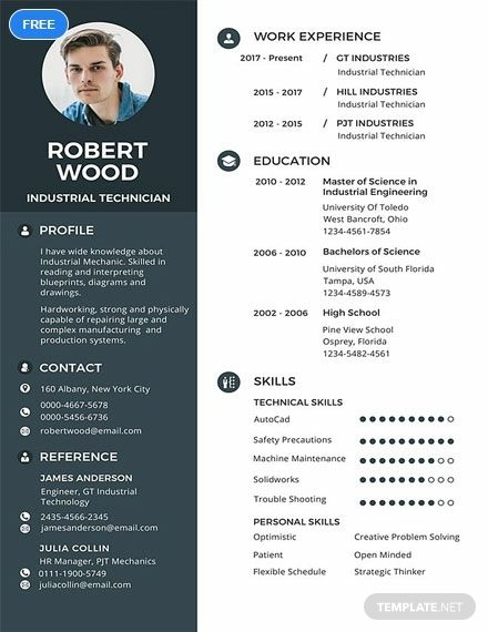 Download This Resume And Cv Template That Is Perfect For Technicians Free And Easy To Edit To Suit Your Perso Resume Template Cv Template Resume Template Word