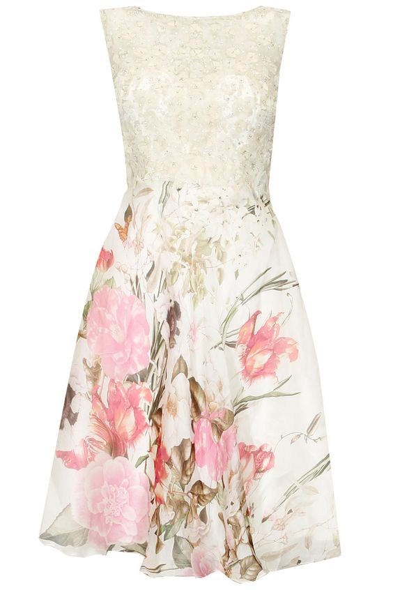 White beaded and multicolour floral print skater dress available only at Pernia's Pop Up Shop.