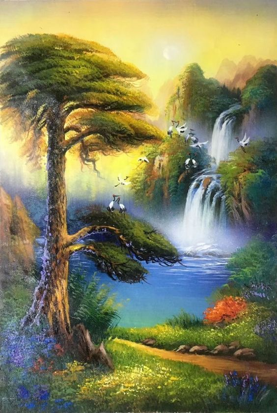 Breathtaking Nature View Painting On Canvas With Images Nature Art Painting Landscape Paintings Nature Paintings