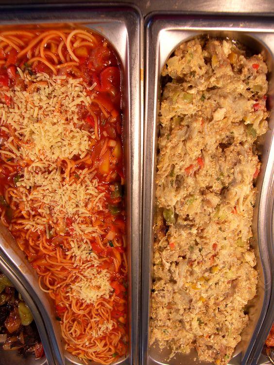 Espaguetis y Berenjena con huevo.
