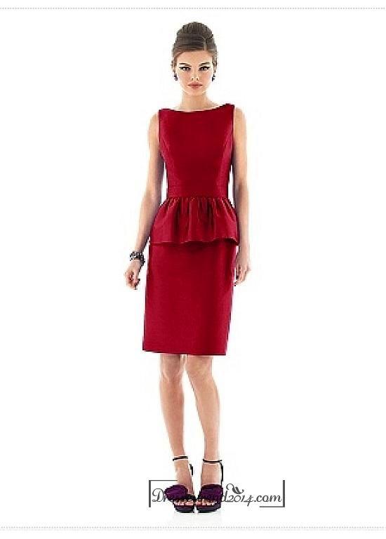 Beautiful Taffeta & Satin Sheath Bateau Neckline Knee-length Bridesmaids Dress