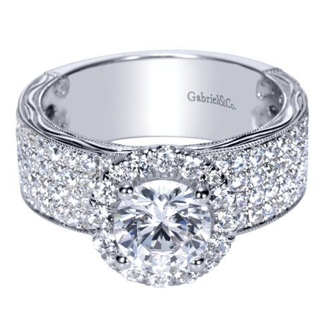 Victorian Halo Engagement Ring from Gabriel NY love the thick