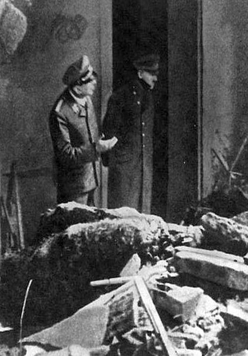 Last photo of Adolf Hitler - April 1945 in Berlin. The Nazi       empire had crumbled to a few blocks of Berlin. It wouldn't be long       until he committed suicide with his bride Eva Braun.