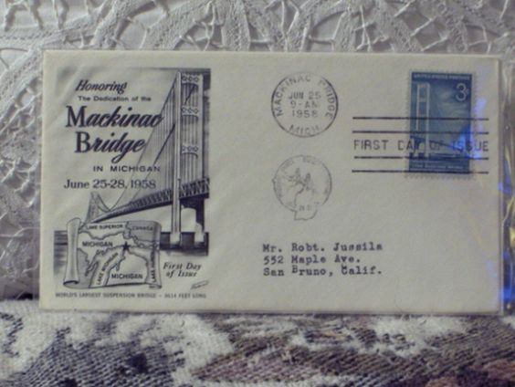 http://ajunkeeshoppe.blogspot.com/  First Day Issue / Cover - Stamp - Mackinac Bridge 1958 3c 8ozP725B4HP1195