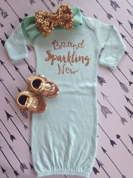 Sparkling New Year S Eve Nails Tutorial: Brand Sparkling New Baby Gown Hospital Outfit Baby Shower