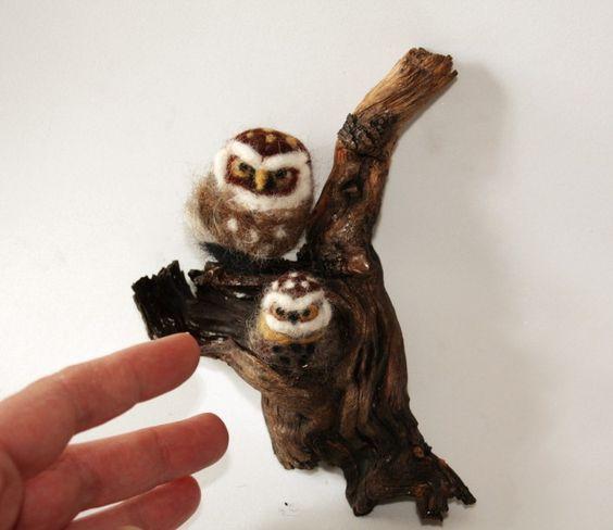 little owls needle felted by Minzoo
