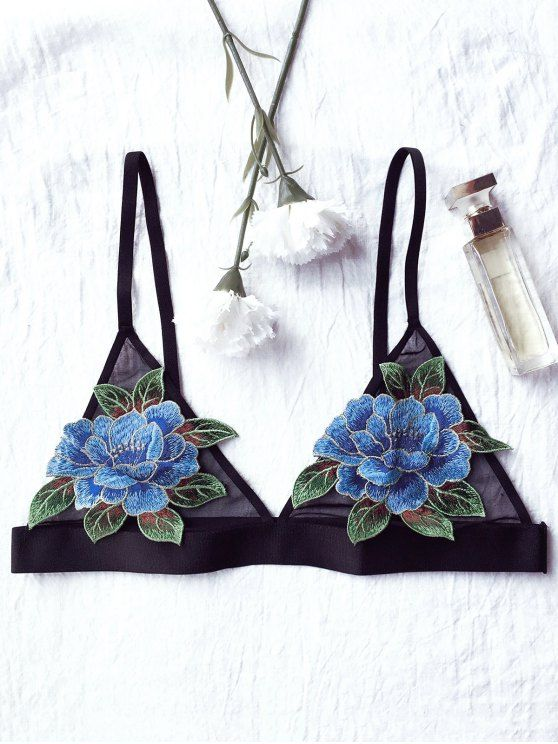 Floral Applique Mesh Plunge Bra - BLACK 80C