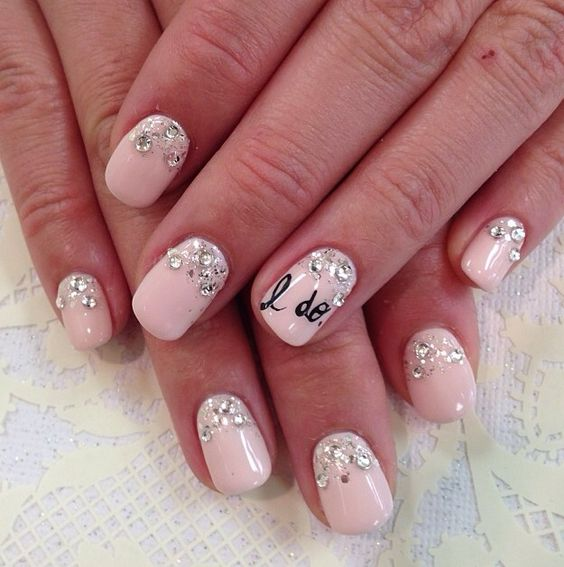"""Say """"I do"""" with these precious bridal themed nails! Baby pink, gems and words of love! Makes your bridal shower and wedding day perfect."""