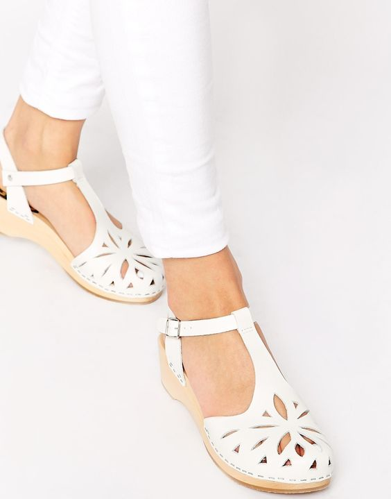 Swedish Hasbeens Lacy Debutant White Mid Heel Sandals | b o h o