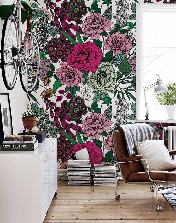 6 Interiors With Tropical Prints You Will Be Smitten With This Season Daily Dream Decor Wall Wallpaper Removable Wallpaper Floral Wallpaper