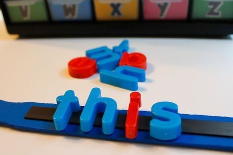 Turn a paint stir stick into a magnetic letter stick for word work during small…