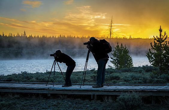 Early Morning Risers Capturing The Sunrise, Yellowstone National Park maddison river,mt haynes,scenic,spring,yellowstone national park,landscape,river,wildlife,sunrise, james hammond, glowing sky, orange, silhouette,landscapesl,jim hammond,outdoors