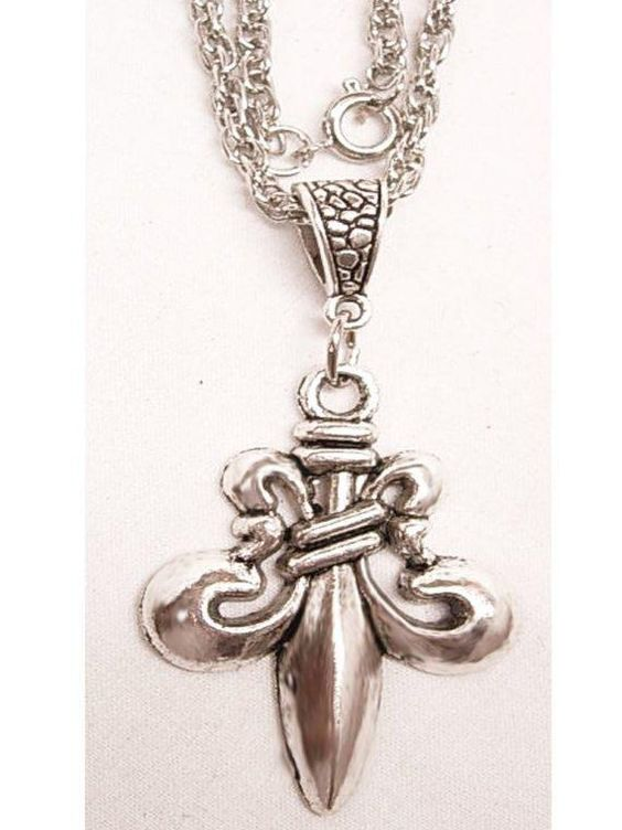 Medieval Gothic Fleur de Lis flower of the universe pendant necklace