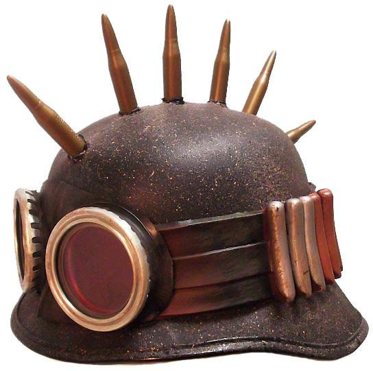 Steampunk Army Biker Helmet Post Apocalypse Military Hat. $65.00, via Etsy.
