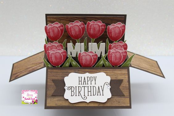 Stampin up Tranquil Tulips card in a box card i made, i also used happy birthday gorgeous stampset & Wood textures DSP