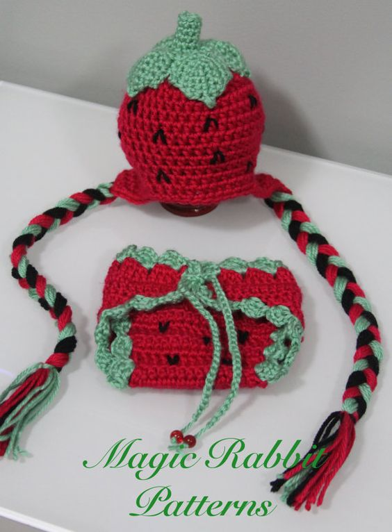 Newborn Strawberry Hat Crochet Pattern : Crochet Strawberry Hat and Diaper Cover - PDF Pattern (5 ...