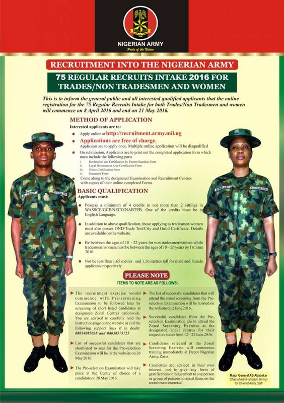 Nigerian Police Recruitment 2016 Shortlisted Candidates 2016 - army form