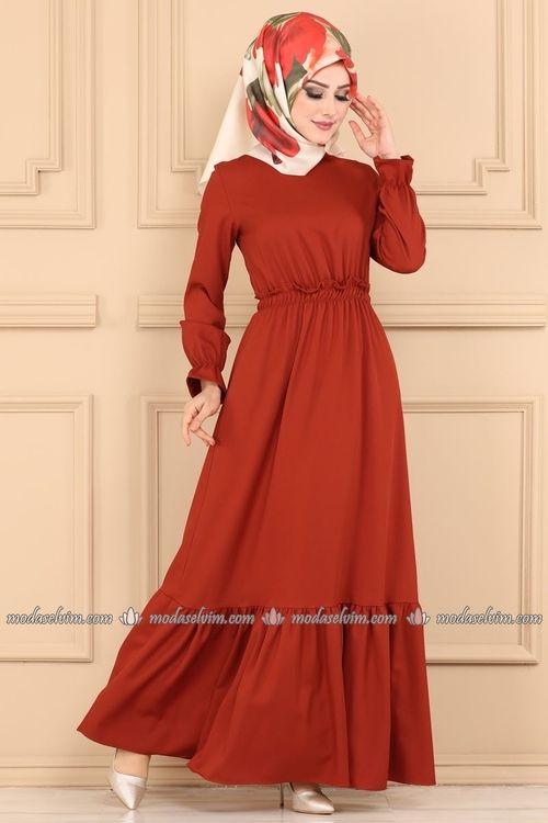 Modaselvim Elbise Beli Lastikli Tesettur Elbise 5030ef311 Kiremit The Dress Moda Stilleri Elbiseler