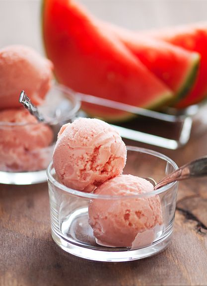 Watermelon Frozen Yogurt 2c.watermelon, 1c.Greek yogurt, 1/3c honey, Juice of 1/2 a lime,1Tbs. Vodka (Keeps it from getting too solid). Churn in maker, 30 min.: