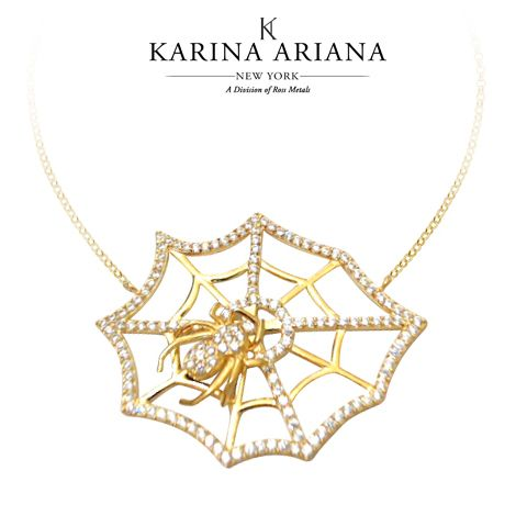 Web Necklace with Spider Shown with CZ Accents KAP-B608 $210 #KarinaAriana #sterlingsilver #Ember #Passion #fashion #jewelry #necklace #pendant #spider #Gothic #Halloween