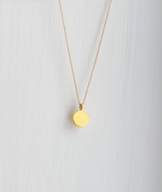 Gold pendant necklace engravable small round by littleglamour