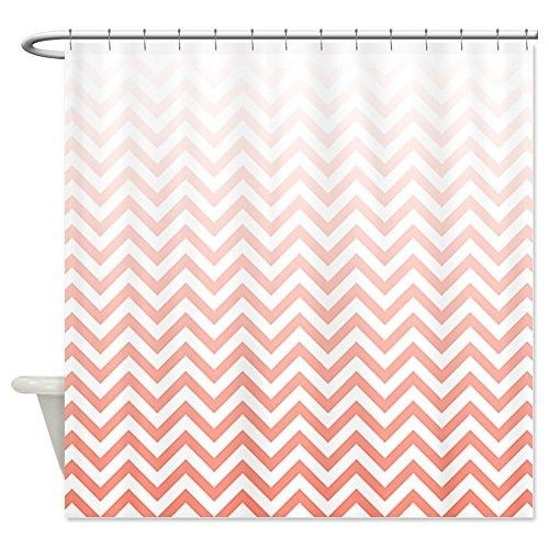 Curtains Ideas coral chevron shower curtain : White and Coral Chevron Shower Curtain Zig Zag Designs ...