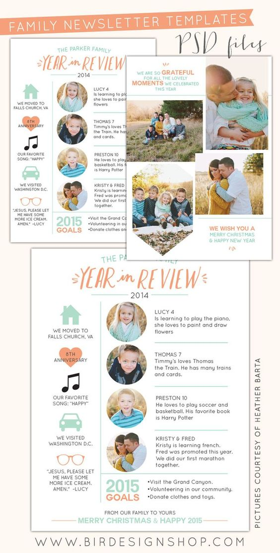 Spring Family Newsletter  Free Photoshop Template  Albumes