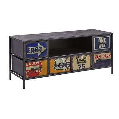 Get your entertainment kicks with our retro TV stand. A nostalgic nod to America's most beloved highway, this wrought iron piece is packed with vintage appeal, courtesy of its road sign artwork. Plus, six drawers' worth of storage, an open design and wire management cutout. We know where friends are road-tripping for the next movie night: Your house.