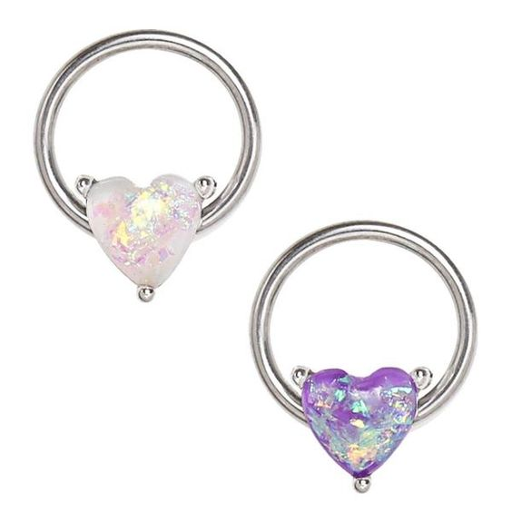 Synthetic Opal Heart Snap In Captive Bead Ring Septum Piercing Rebelbod Body Jewelry Snap In Capti Septum Piercing Jewelry Nose Ring Jewelry Belly Jewelry