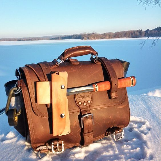 Legend says Lake Edinboro was just a huge chunk of ice before @myfriendscallmeeric chiseled out a lake with his mighty rock hammer. Yet another incredible feat inspired by the Classic Briefcase!  #RockHammer #Briefcase #BetterWithAge #LeatherGoods #SaddlebackLeather