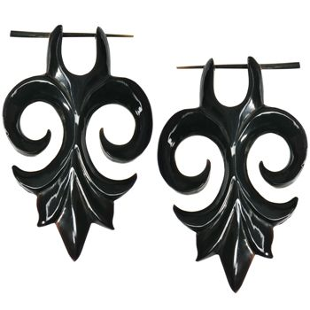 Hand Carved Organic Horn Tribal Flower Hanger Earrings <3 these are amazing i love ear rings like this... i want a couple pairs