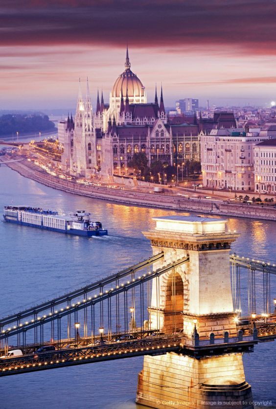 Chain Bridge in Budapest, Hungary.  A travel board about Budapest Hungary. Includes things to do in Budapest, Budapest nightlife, Budapest food, Budapest tips and much more about what to do in Budapest. -- Have a look at http://www.travelerguides.net