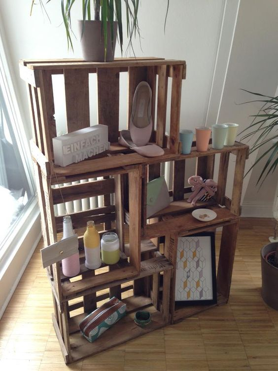 regal aus weinkisten dekoration pinterest. Black Bedroom Furniture Sets. Home Design Ideas