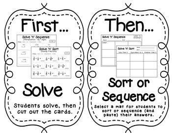 Solve 'n' Sequence Math Activities (4th Grade) | Pinterest ...