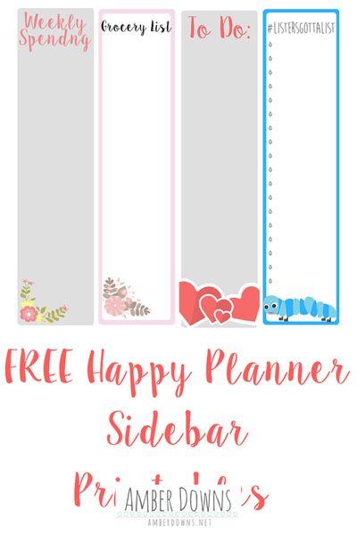 Happy planner/ Erin Condren free printable for planner sidebars.