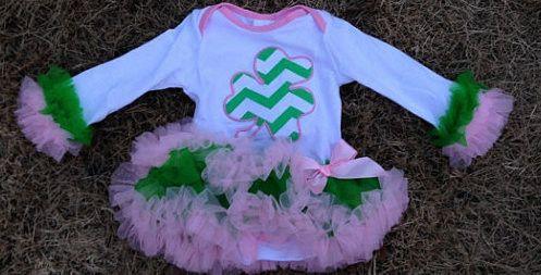 St. Patrick's Day Little Miss Shamrock Tutu Onesie Boutique Dress
