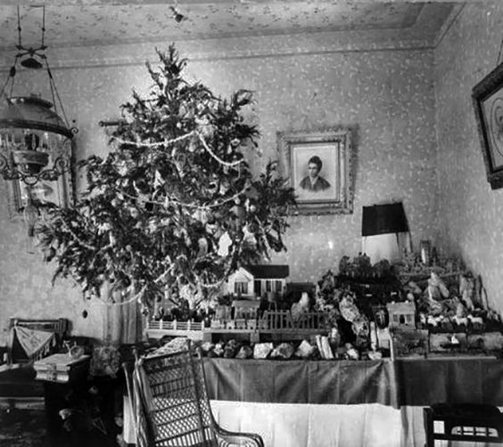 Christmas Tree San Antonio: Christmas Tree And Miniature Village In Parlor Of Harry C