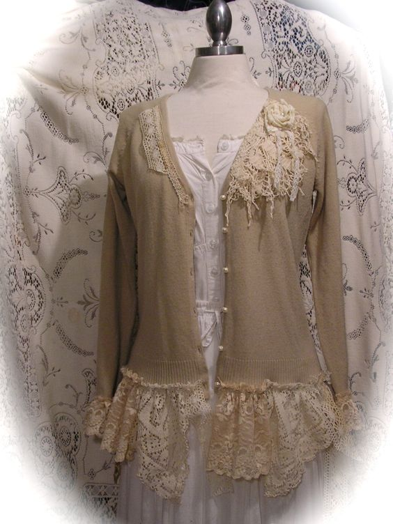 Shabby Bohemian Sweater, altered couture clothing, tattered chic doily lace, soft knit cardigan MEDIUM. $128.00, via Etsy.: