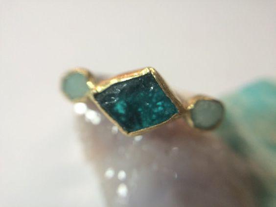Azul verde áspera anillo de compromiso por MelissaTysonDesigns