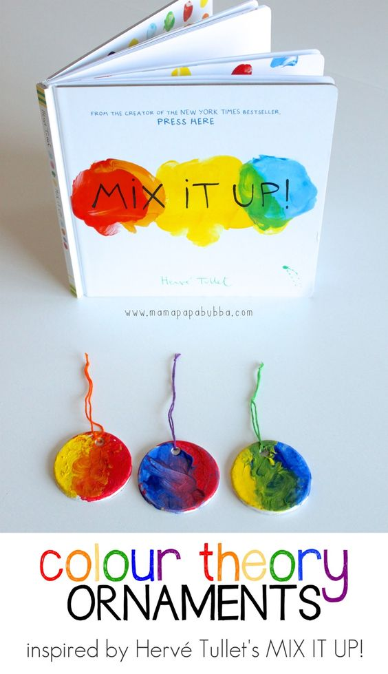 Color Theory Ornaments inspired by Herve Tullet's book Mix it Up!