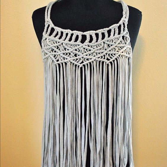 Hand dyed macrame weave with jersey.